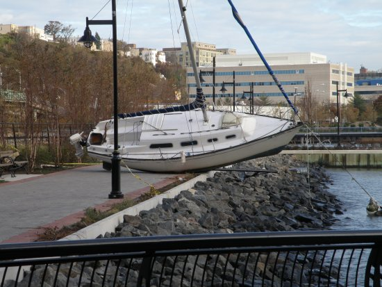 Ship ashore on Hudson River Waterfront Walkway at Weehawken Cove in north Hoboken.