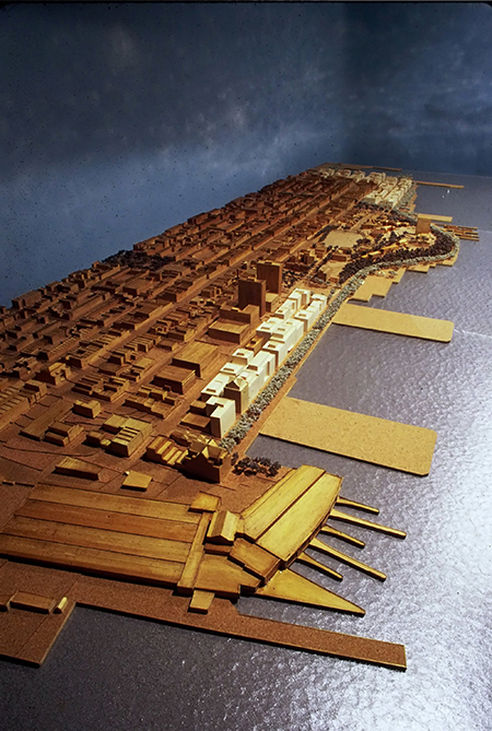 FBW 12' x 4' architectural model of Plan for Hoboken Waterfront built in 1991.