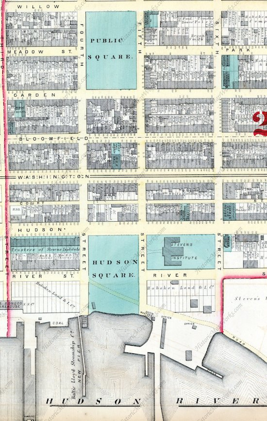 Excerpt for 1873 Hopkins plat map for City of Hoboken showing Hudson Square extending from Hudson Street all the way to the Hudson River.