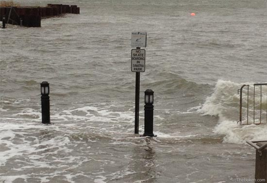 The Hoboken shoreline with a submerged portion of Sinatra Park during Superstorm Sandy. Photo Credit: TheBoken.com.