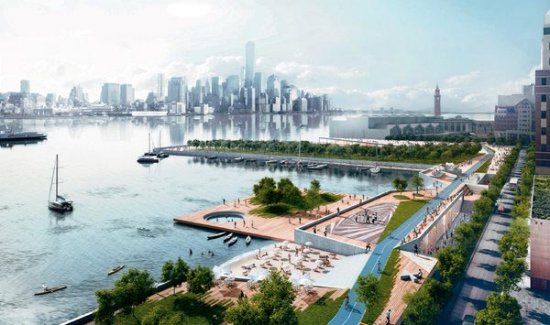 Massive wall at  south waterfront depicted in rendering by  the OMA team that  worked on original Rebuild by Design project for Hoboken.