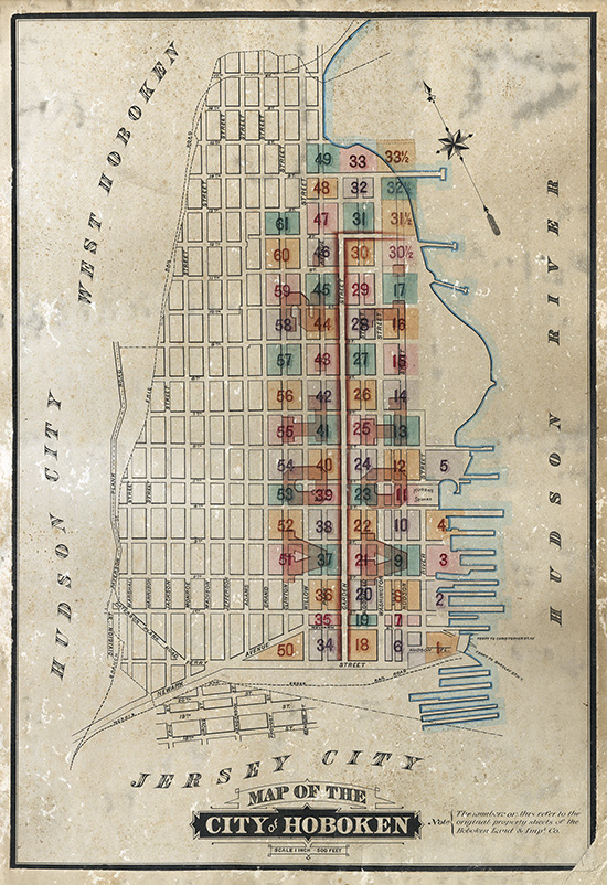 Map of the City of Hoboken from the late 1800s showing the expansion of Col. John Stevens original street grid for Hoboken of 1804.