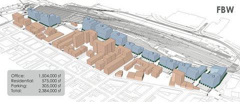 FBW plan for Hoboken Railyards drops maximum building heights to 16 stories and provides fully extended street grid for proper traffic circulation and well defined development parcels.