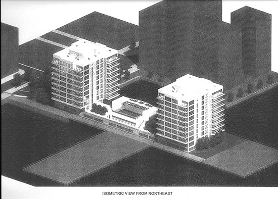 Monarch Towers proposal viewed from the northeast. Buildings are in FEMA's highest flood hazard risk zone.