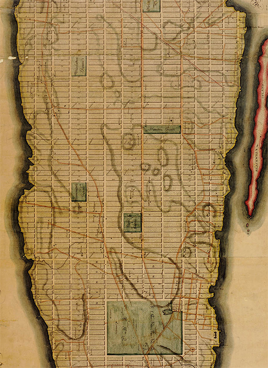 Detail from the Commissioner's Plan of 1811 for Manhattan. This plan was laid out over a hundred years before the last parcels were developed at the northern end of the island.
