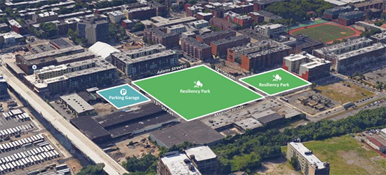 The City of Hoboken has acquired the BASF property for $30 million. Construction costs, including underground flood retention basins, will add an estimated $19.5 million.