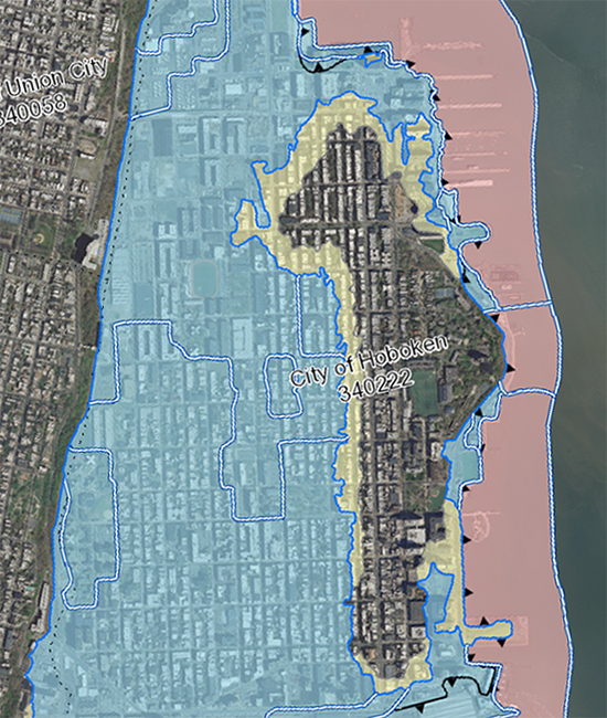 FEMA's Preliminary Flood Insurance Rate Map puts about 80% of Hoboken in a flood hazard zone. These maps will go into effect in the next several years.