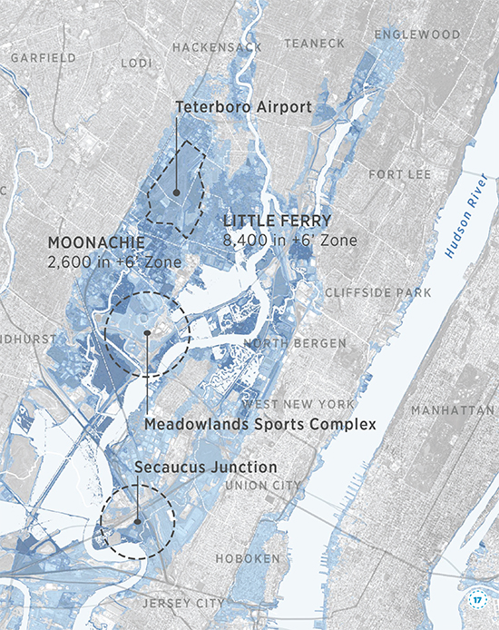 This image from the Regional Plan Association report, Under Water: How Sea Level Rise Threatens the Tri-State Region, shows large portions of the New Jersey Meadowlands and Hoboken that will be under water by the year 2100.