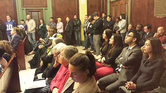 It was standing room only at the Hoboken City Council meeting on November 14. The Council voted against the Monarch settlement in a 8-0 vote.