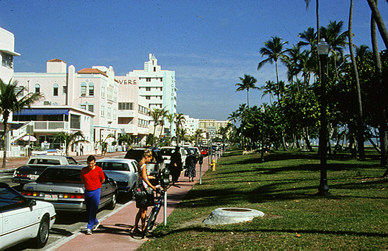 The Art Deco District in Miami Beach, Florida with the public waterfront clearly separated from upland private buildings facing the street and the public space.
