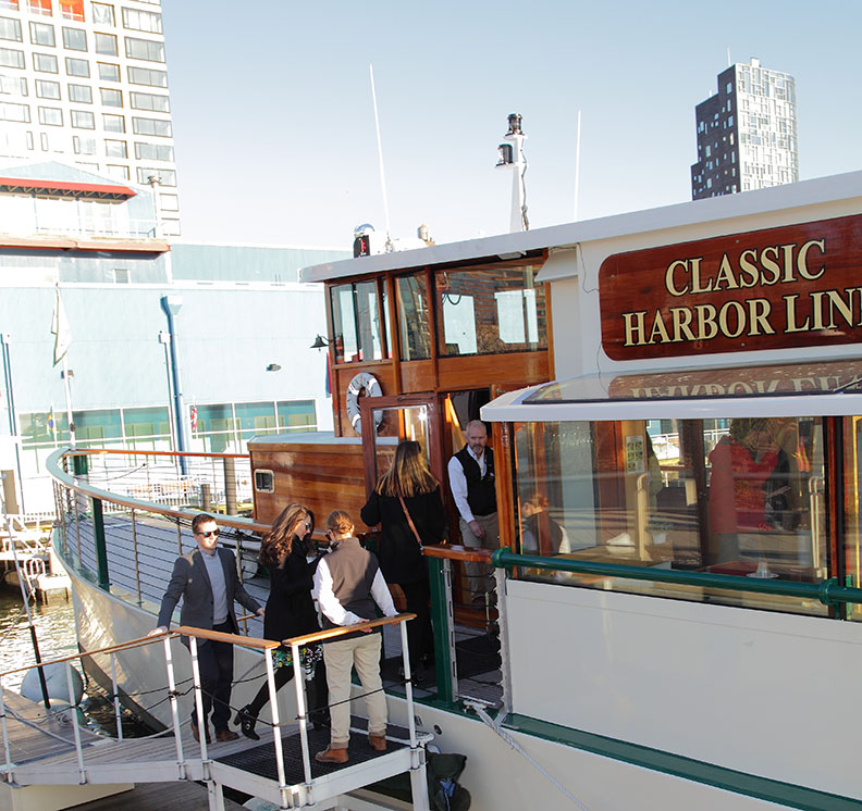 Guests boarding the Classic Harbor Line's Manhattan II yacht.