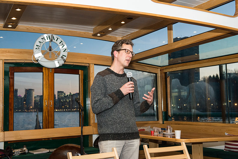 Research scientist Philip Orton from Stevens Institute of Technology briefs the audience on latest research on coastal storm surges in the New York Harbor.