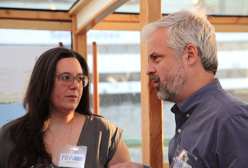 FBW's Board members Kate Valenta and Carrow Thibault having a chat.