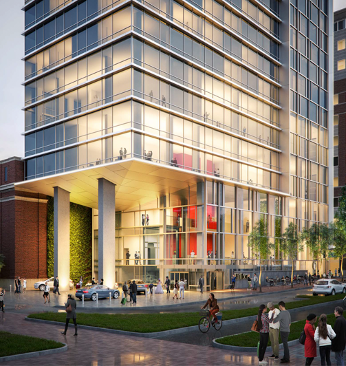 Architectural rendering of street level for the hotel proposed behind the Hoboken Post Office by Cooper Carry.