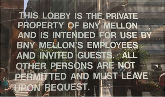 Sign at lobby entrance to 101 Barclay Street in Manhattan where owner was granted zoning bonus in exchange for agreement to provide public space at lobby level.