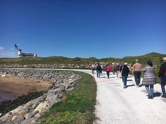 Touring the public walkway with the Hudson River Waterfront Conservancy along the Scottish links-style Bayonne Golf Club built over a former garbage dump.